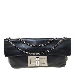 Chanel Black Leather Mademoiselle Turn Lock Flap Bag 218538