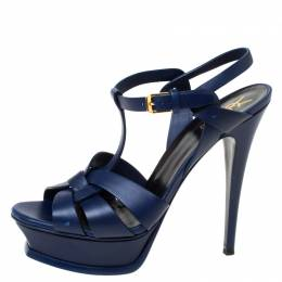 Saint Laurent Paris Blue Leather Tribute Platform Sandals Size 38.5 218955