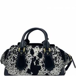 Burberry Black/White Calf Hair and Leather Satchel Bag 222080