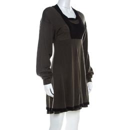 Balenciaga Khaki Green Wool Cut-Out Detail Short Dress S 219019