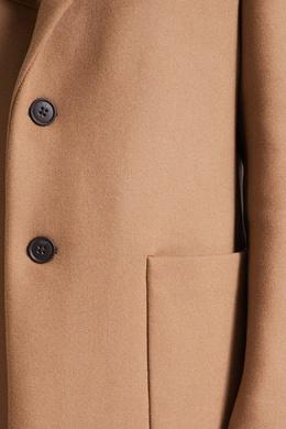 Бежевое пальто с логотипом на груди Fendi 1632149502