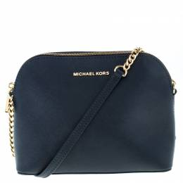 Michael Kors Navy Blue Leather Emmy Cindy Crossbody Bag 218373