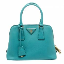 Prada Turquoise Saffiano Lux Leather Small Promenade Crossbody Bag 218379