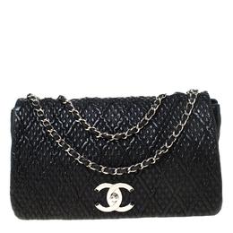 Chanel Black Textured Quilted Leather Shoulder Bag 219232
