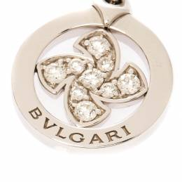 Bvlgari Diamond Flower 18k White Gold Pendant Charm 222165