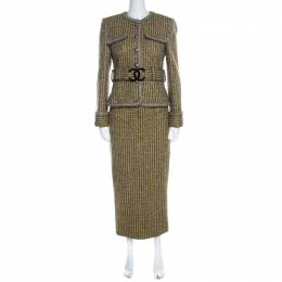 Chanel Yellow and Grey Fantasy Tweed Belted Blazer and Dress Set M 219443