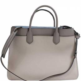 Prada Two Tone Grey Leather Tote Bag 218305