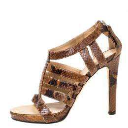 Giuseppe Zanotti Design Brown Python Embossed Leather Strappy Sandals Size 37.5 219450