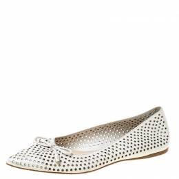 Prada White Perforated Leather Bow Pointed Toe Ballet Flats Size 37.5 219928