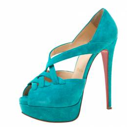 Christian Louboutin Turquoise Suede Lady Corset Criss Cross Platform Pumps Size 36.5 219687