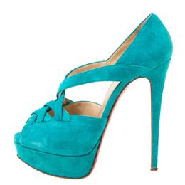 Christian Louboutin Turquoise Suede Lady Corset Criss Cross Platform Pumps Size 36.5