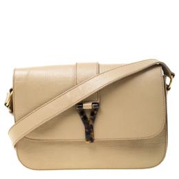 Saint Laurent Beige Textured Leather Large Chyc Shoulder Bag 219862
