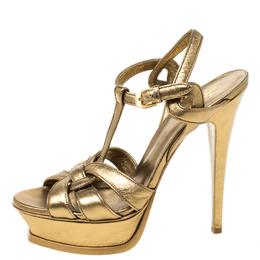 Saint Laurent Paris Metallic Gold Leather Tribute Platform Sandals Size 38 219863