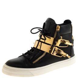 Giuseppe Zanotti Design Leather Metal Plate Ski Buckle High Top Sneakers Size 38 219866