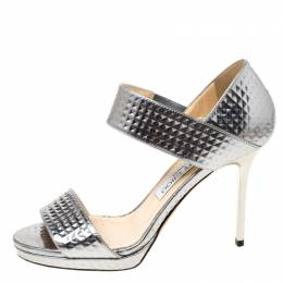 Jimmy Choo Silver Textured Leather Alana Open Toe Sandals  Size 36.5 219868
