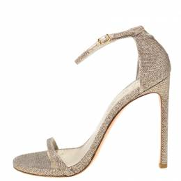 Stuart Weitzman Metallic Champagne Lamè Fabric Ankle Strap Open Toe Sandals Size 40 219694