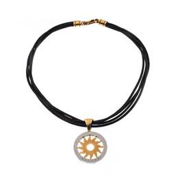 Bvlgari Tondo Sun 18k Yellow Gold & Stainless Steel Pendant Cord Necklace 222218