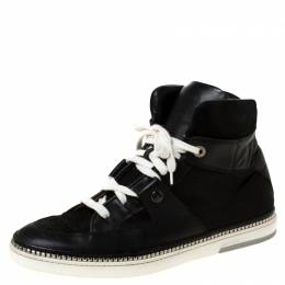 Jimmy Choo Black Snakeskin Embossed Leather and Suede Lace Up High Top Sneakers Size 44 219905