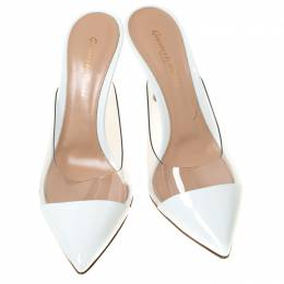 Gianvito Rossi White Leather and PVC Plexi Pointed Toe Mule Sandals Size 38 219873
