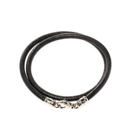 Bvlgari Black Leather Silver Tone Cord Necklace 222186