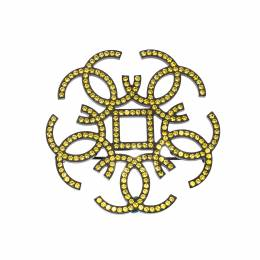 Chanel CC Yellow Crystal Embellished Black Tone Pin Brooch 222239