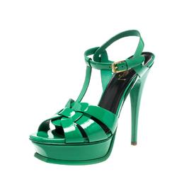 Saint Laurent Paris Green Patent Leather Tribute Platform Sandals Size 39 219008