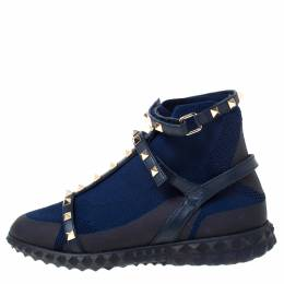 Valentino Blue/Black fabric and Leather Rockstud Body Tech Sock High Top Sneakers Size 37.5 222242