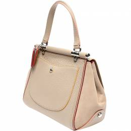 Coach Beige Pink Leather Top Handle Bag 219383