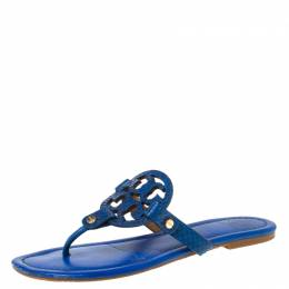 Tory Burch Blue Leather and Snakeskin Embossed Miller Flat Thong Sandals Size 37.5 222088