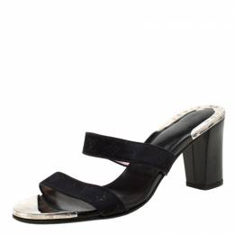 Louis Vuitton Black Monogram Canvas Slide Block Heel Sandals Size 36.5 219822