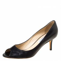 Jimmy Choo Black Leather Isabel Peep Toe Pumps Size 37.5 219931