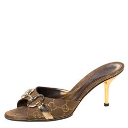 Gucci Brown/Gold GG Canvas Horsebit Slides Sandals Size 36 222250