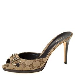 Gucci Beige GG Canvas Horsebit Slide Sandals Size 38 222252