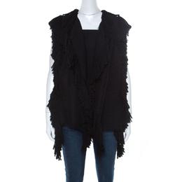 Lanvin Black Fringe Edge Wool Blend Knit Vest M 219707