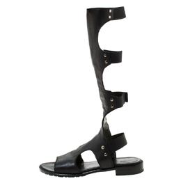 Stuart Weitzman Black Leather Backview Flat Sandals Size 37.5 219700