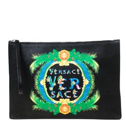 Versace Black Leather Miami Clutch 218126
