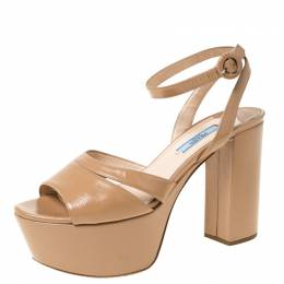 Prada Beige Patent Leather Ankle Strap Block Heel Platform Sandals Size 38 222116