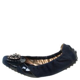 Tod's Navy Blue Embellished Suede Scrunch Ballet Flats Size 38.5 222111