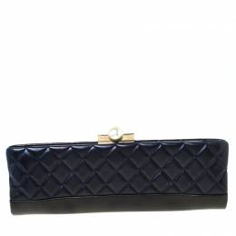 Chanel Navy Blue/Black Quilted Leather Baguette Minaudiere Clutch 217295
