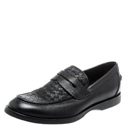 Bottega Veneta Black Intrecciato Leather Penny Loafers Size 42 222066