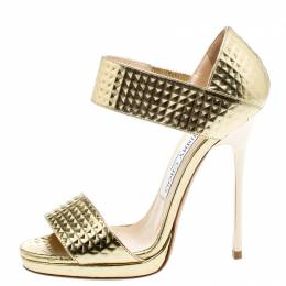 Jimmy Choo Gold Metallic Textured Leather Open Toe Sandals Size 35 222061