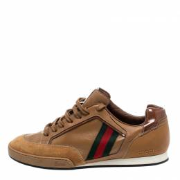 Gucci Brown Web Leather and Suede Tennis 83 Lace Up Sneakers Size 40 222107