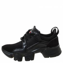 Givenchy Black Leather And Neoprene Fabric Jaw Low Sneakers Size 42 222109