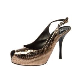 Giuseppe Zannotti Metallic Python Embossed Leather Peep Toe Platform Slingback Sandals Size 38 Giuseppe Zanotti Design 222040