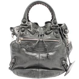 Balenciaga Grey Lambskin Leather Brogues PomPon Shoulder Bag 218763