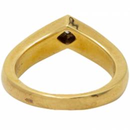 Cartier 18K Yellow Gold V Shape With Princess Cut Diamond Ring Size 50