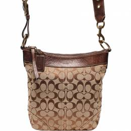 Coach Brown Signature Canvas and Leather Bleecker Duffle Bucket Crossbody Bag 219420