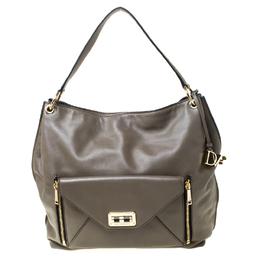 Diane Von Furstenberg Dark Khaki Leather Shoulder Bag 219229