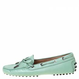Tod's Mint Green Leather Bow Loafers Size 37.5 219850