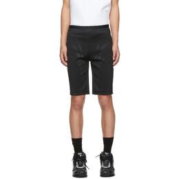 Mugler Black Embossed Bicycle Shorts 192345M19300103GB